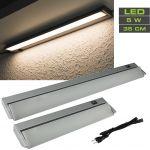 LED Unterbauleuchte 35 cm schwenkbar Alu 5 W / 370 Lumen Neutralweiß, Euro-Stecker-Anschluss
