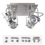 Deckenleuchte Sonda 4-fach Spotlight, dreh- und schwenkbar, satinchrom, GU10