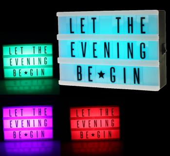 LED Lightbox RGB Farbwechsel inkl. Buchstabenset + Batterien