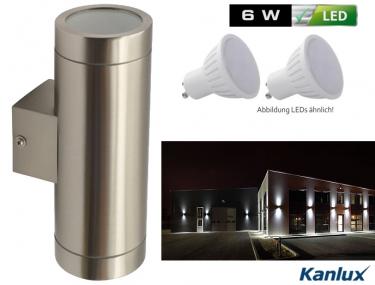 AUSSEN-WANDLEUCHTE MAGRA UP/DOWN INKL. 2 LED STRAHLER JE 3 WATT, EDELSTAHL IP44 GU10